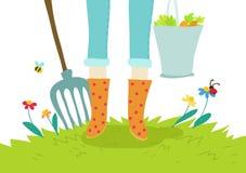 Gartenarbeit- und agricoltureabbildungkonzept Lizenzfreies Stockfoto