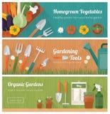 Gartenarbeit und diy Fahnensatz Stockbild