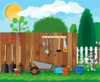 Gartenarbeit-Werkzeug-Satz Ausrüstung für Garten stock abbildung