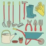 Gartenarbeit-Werkzeug-Vektor-gesetzte Illustration lokalisiert Stockfotos