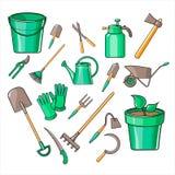 Gartenarbeit-Werkzeug-Vektor-Illustrations-Satz Lizenzfreie Stockfotos
