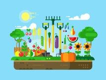 Gartenarbeitdesign flach lizenzfreie abbildung