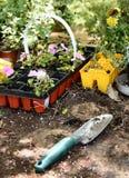 Gartenarbeithilfsmittel und Frühlingsanlagen stockfoto