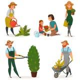 Gartenarbeithobby-Ikonen-Satz Lizenzfreie Stockfotos
