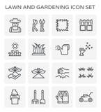 Gartenarbeitikone des Rasens vektor abbildung