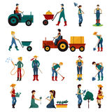 Gartenarbeitleute-Ebenen-Satz stock abbildung