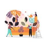 Gartenarbeitvektorkonzept des Frühlinges für Netzfahne, Websiteseite vektor abbildung