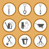 Gartenarbeitwerkzeug-Ikonensatz Stockfotos