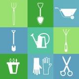 Gartenarbeitwerkzeug-Ikonensatz Stockbild