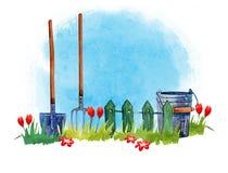 Gartenarbeitwerkzeuge auf Gras - übergeben Sie gezogene Aquarellillustration auf blauem Hintergrund stock abbildung