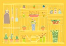 Gartenarbeitwerkzeuge und Blumen auf hölzernem Regal, Vektorillustrationen Stockbilder