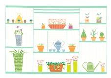 Gartenarbeitwerkzeuge und Blumen auf hölzernem Regal, Vektorillustrationen Lizenzfreies Stockbild