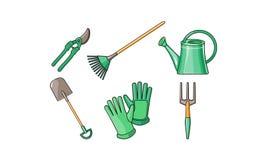 Gartenarbeitwerkzeugikonen stellten, pruner, Schaufel, Fächerbesen, Handschuhe, Gießkanne, Gabelvektor Illustration auf einem Wei vektor abbildung