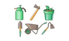 Gartenarbeitwerkzeugikonen stellten, Sprüherflasche, Axt, Schubkarre, Hacke, Schaufel, Blumentopf-Vektor Illustration auf einem W stock abbildung