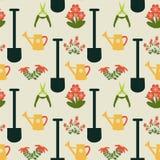 Gartenarbeitwiederholungs-Muster - Illustration Stockfoto