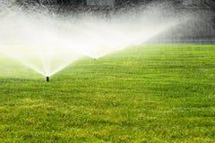 Gartenberieselungsanlage auf dem grünen Rasen Lizenzfreie Stockfotos