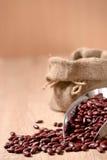 Gartenbohne, rote Bohnen in der Metallschaufel auf hölzerner Tabelle Stockfoto