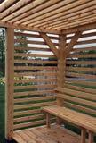 Gartengeräte vom Holz Stockfoto