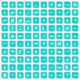 100 Gartenmaterialikonen stellten Schmutz blau ein Lizenzfreie Stockfotografie