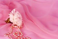 Gartennelke und Perlen auf rosafarbenem silk Chiffon Lizenzfreie Stockbilder