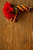 Gartennelken-Blumen und George Ribbon auf abstraktem hellem Hintergrund Siegtag - 9 Jubiläum 70 Jahre Lizenzfreie Stockfotos