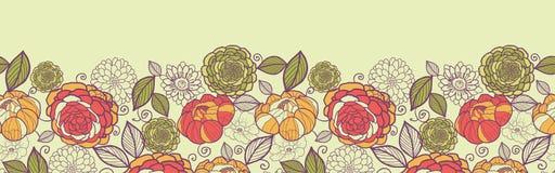 Gartenpfingstrosenblumen und -blätter horizontal Lizenzfreie Stockfotografie