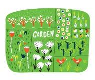 Gartenplan mit lustiger Illustration der Betten vektor abbildung