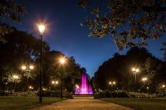 Gartenpool nachts, Vilnius Lizenzfreies Stockbild