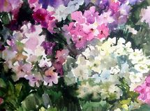 Gartens der Aquarellkunsthintergrundzusammenfassungsmusterverwischte heiratende strukturierte nasse Wäsche des Blumenblumen lila  Stockfotos