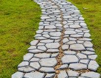 Gartensteinweg mit dem Gras, das zwischen den Steinen heranwächst Lizenzfreie Stockfotografie