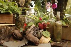 Gartenstillleben mit alten Stiefeln Stockbild
