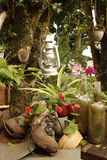 Gartenstillleben mit alten Stiefeln Lizenzfreie Stockfotos