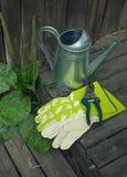 Gartenstillleben mit Gießkanne und Handschuhen Lizenzfreie Stockbilder