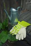 Gartenstillleben mit Gießkanne und Handschuhen Stockfotos