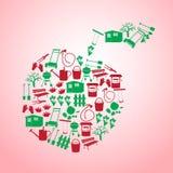 Gartensymbole in der Apfelform stock abbildung