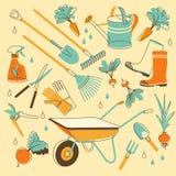 Gartenwerkzeuge in der Gekritzelart Stockfotos