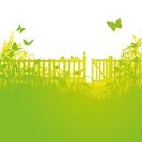 Gartenzaun und offene Tore Stockfotografie