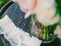 Garter of the bride with crystals. Wedding decorations of the br Stock Photography