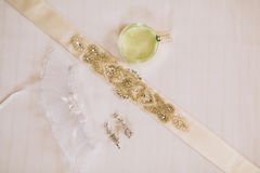 Garter of the bride with crystals. Wedding decorations of the br Stock Image