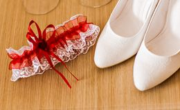 Garter and wedding shoes Royalty Free Stock Image