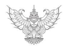 Garuda den halva mänskliga halva fågeln, djur i thailändsk litteratur för designbeståndsdel, utskrivaven utslagsplats och sida fö stock illustrationer