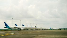 Garuda Indonesia Airplanes Royaltyfria Foton