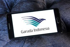 Garuda indonesia logo. Logo of garuda indonesia airlines on samsung mobile phone a5 Royalty Free Stock Images