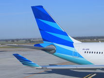 Garuda Indonesia. Plane at Melbourne Airportn Royalty Free Stock Images