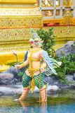 Garuda with lotus in hand, Mythical creatures, Bangkok, Thailand 1 royalty free stock photo