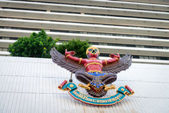 Garuda mythical bird image on the facade of Bangkok Bank Stock Image