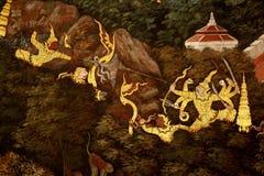 Garuda Painting i Royal Palace, Bangkok, Thailand thailändsk mytologi och tradition royaltyfria foton