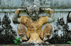 Garuda sculpture. Made form concrete architectural on temple wall in Thailand Stock Image