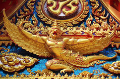Garuda at Wat Phra Thaen Rang Worawihan. Wat Phra Thaen Rang Worawihan is a famous temple in Kanchanaburi. Many Kings have made pilgrimages here to visit a long stock photo
