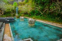 Garuda Wisnu Kencana Cultural Park, pequeña piscina con una escultura bali indonesia Imágenes de archivo libres de regalías